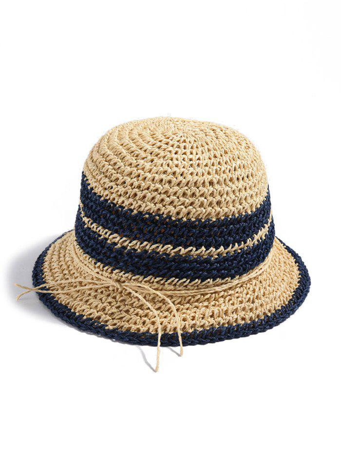 Affordable Tie Knot Contrast Straw Hat