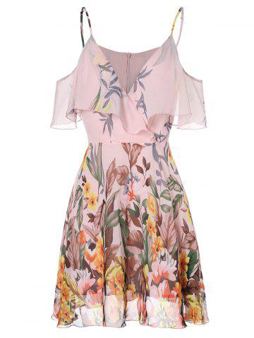 Spaghetti Strap Open Shoulder Floral Print Dress