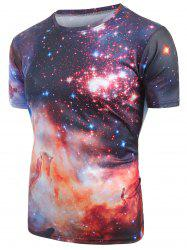 Galaxy Print Short Sleeves Casual T-shirt -
