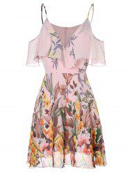 Spaghetti Strap Open Shoulder Floral Print Dress -