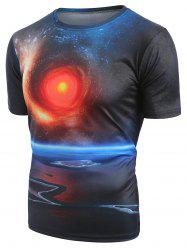 Short Sleeves Universe Space Print T-shirt -