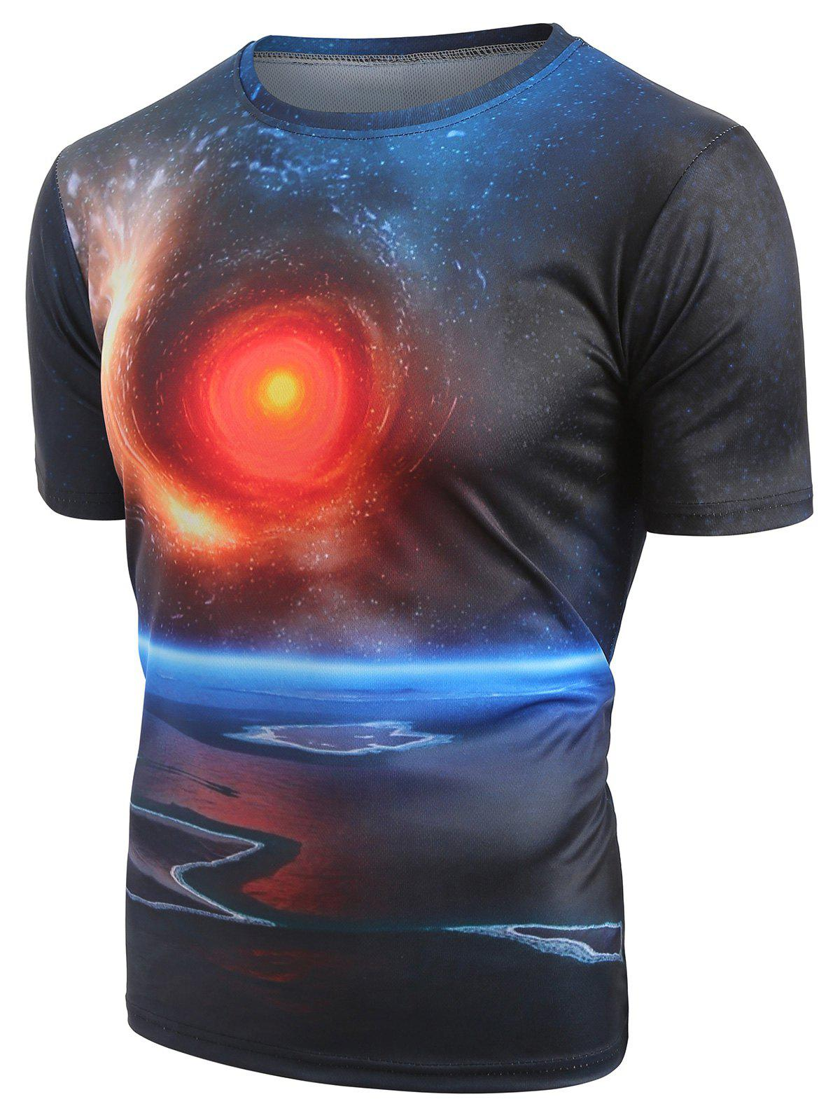 Outfit Short Sleeves Universe Space Print T-shirt