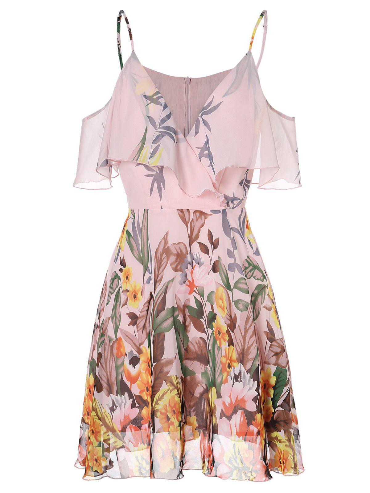 Discount Spaghetti Strap Open Shoulder Floral Print Dress