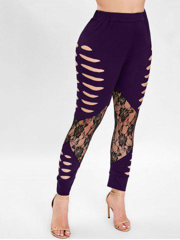 Ripped Lace Insert Plus Size Leggings