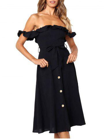 Ruffle Off The Shoulder Belted Dress