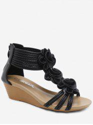 Ankle Wrap Flower Wedge Sandals -