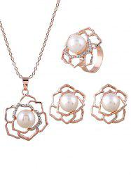 Faux Pearl Flower Necklace Ring and Earrings -