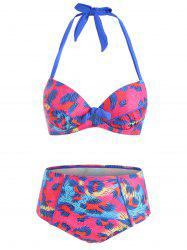 Knotted Printed Underwire Bikini Set -