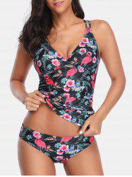Flamingo Floral Print Ruched Tankini Set -