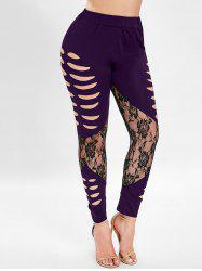 Ripped Lace Insert Plus Size Leggings -