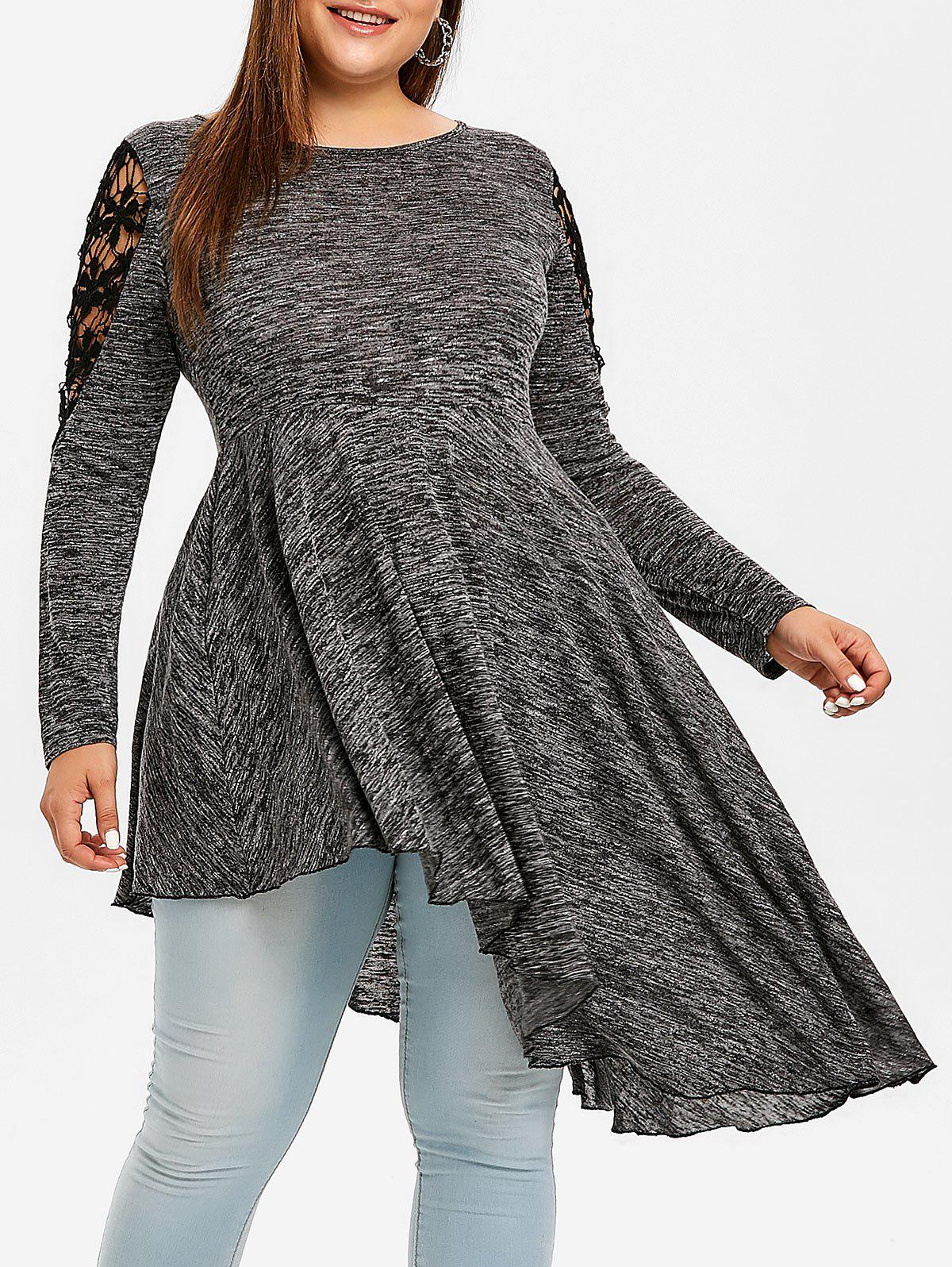 Plus Size Lace Insert High Low T-shirt фото