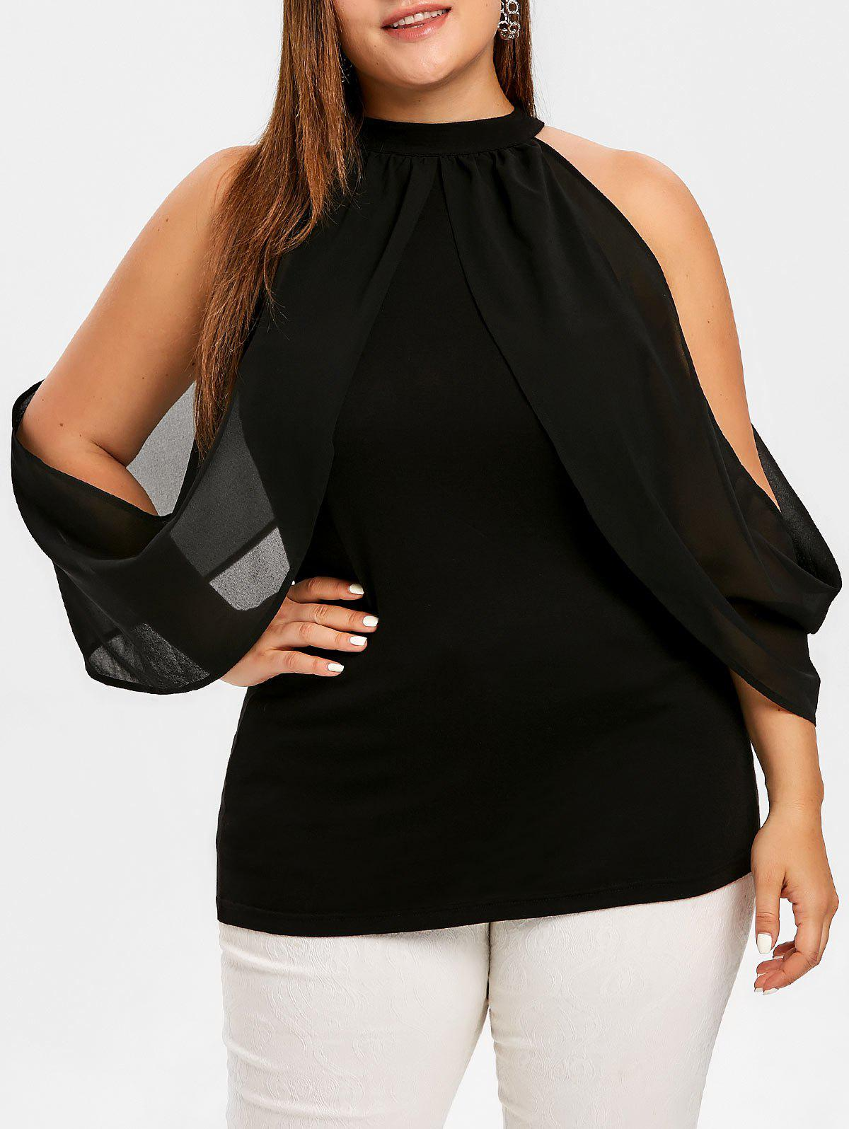 Buy Plus Size Keyhole Overlay Open Shoulder Top