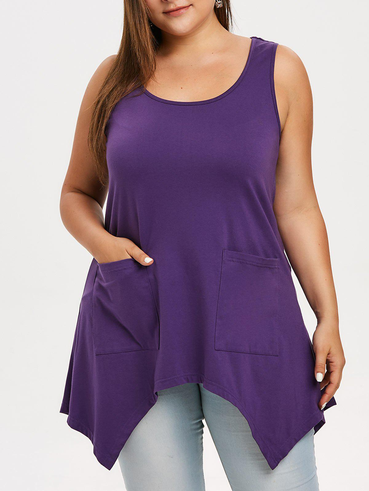 Cheap Plus Size Asymmetrical Top with Pockets