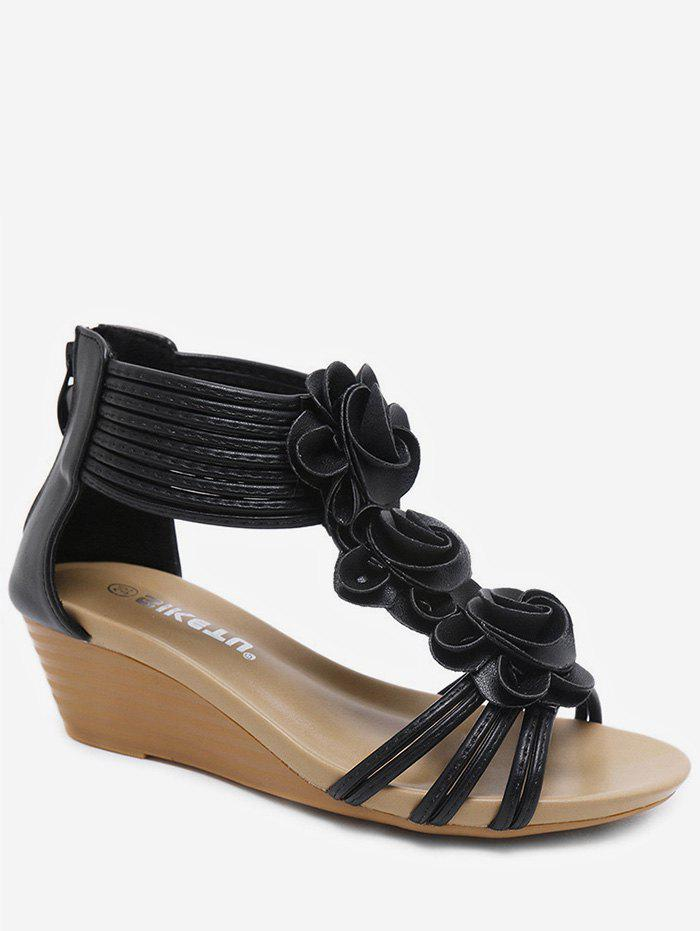 Affordable Ankle Wrap Flower Wedge Sandals