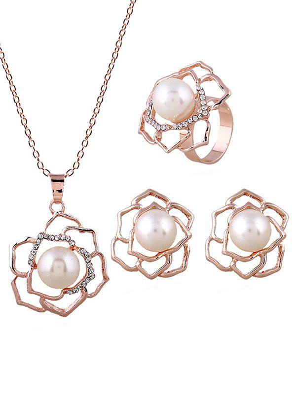 Hot Faux Pearl Flower Necklace Ring and Earrings