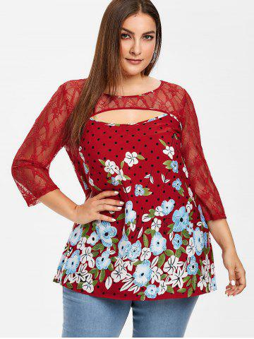 Lace Insert Cut Out Floral Plus Size Blouse