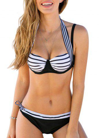 Halter Neck Striped Padded Bikini Set
