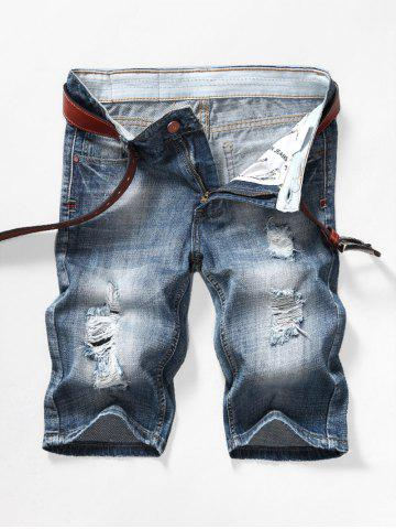 Faded Wash Ripped Jean Shorts