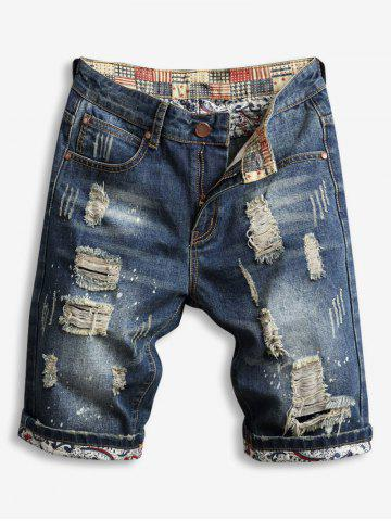 Destroy Wash Zipper Fly Jean Shorts