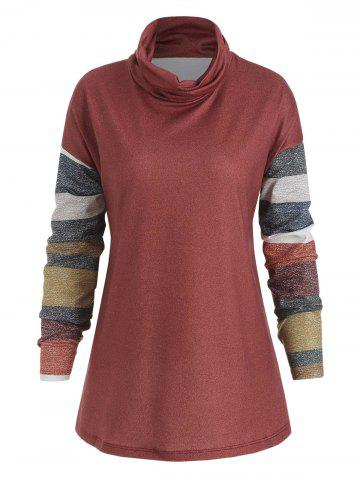 Striped Turtle Neck Long Sleeve Top