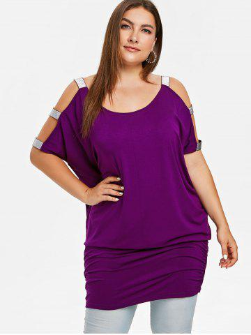 Round Neck Plus Size Cut Out Sleeve T-shirt