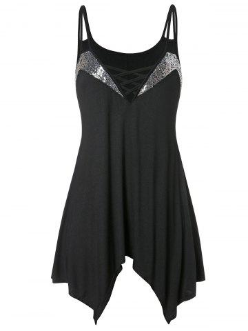 Asymmetrical Plus Size Sequin Embellished Cami Top