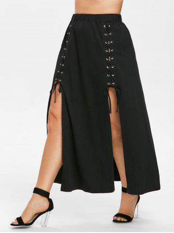 Front Slit Plus Size Lace Skirt - 1x BLACK