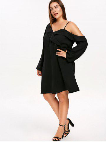 Plunging Neck Ruffle Trim Plus Size Mini Dress