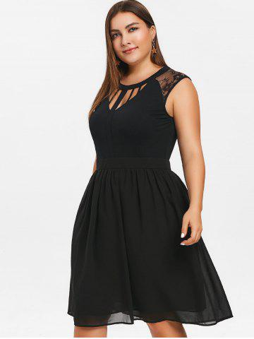 Plus Size Hollow Out Lace Insert Sleeveless Dress