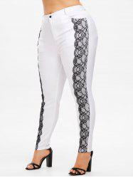 Plus Size Lace Detail Pencil Pants -