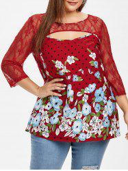 Lace Insert Cut Out Floral Plus Size Blouse -