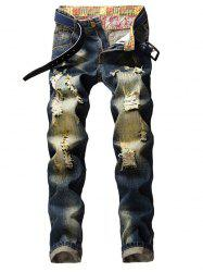 Faded Wash Long Straight Ripped Jeans -