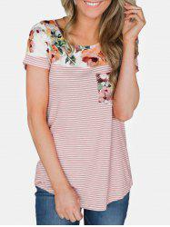 Floral Print Short Sleeve Striped Tee -