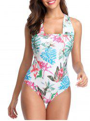 e34a31750b 2019 Convertible Neck Tropical Print One-piece Swimsuit