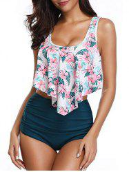 Floral Print Ruched Tankini Set -