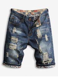 Destroy Wash Zipper Fly Jean Shorts -
