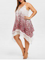 Plus Size Lace Panel Spaghetti Straps Dress -