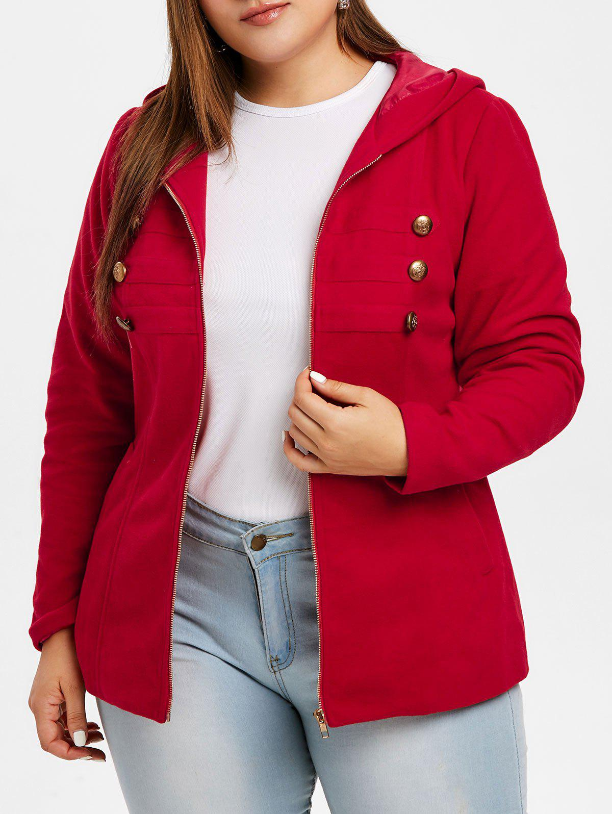Sale Plus Size Buttons Hooded Coat with Zipper Fly