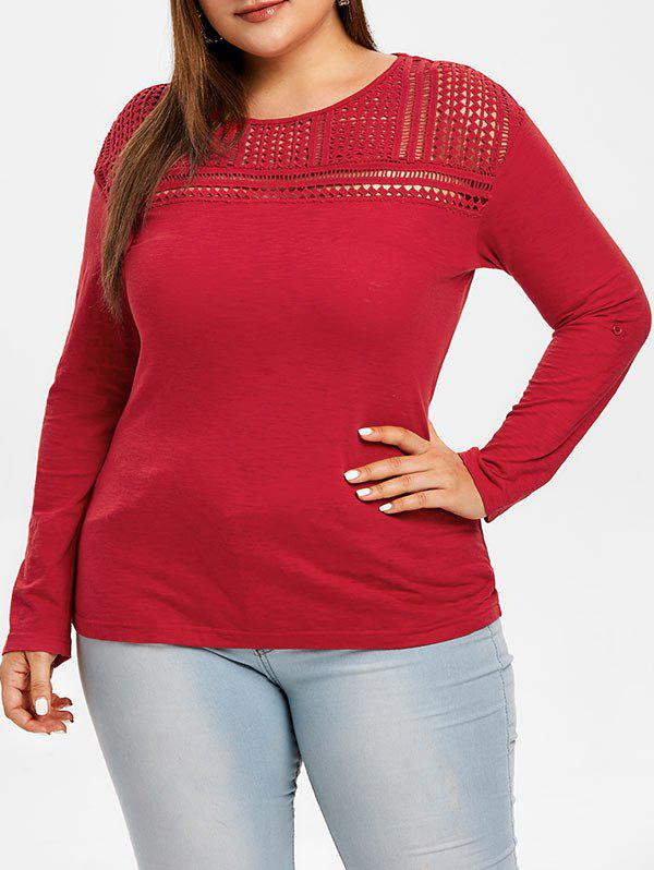Affordable Plus Size Hollow Out T-shirt