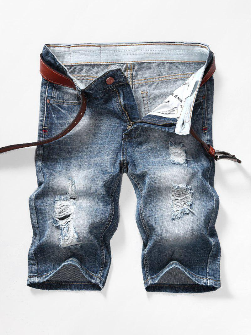 New Faded Wash Ripped Jean Shorts