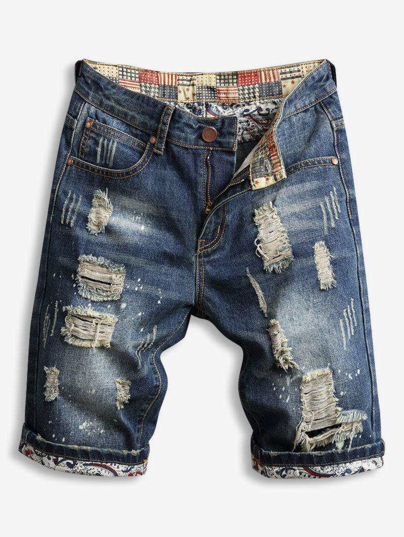 Shops Destroy Wash Zipper Fly Jean Shorts