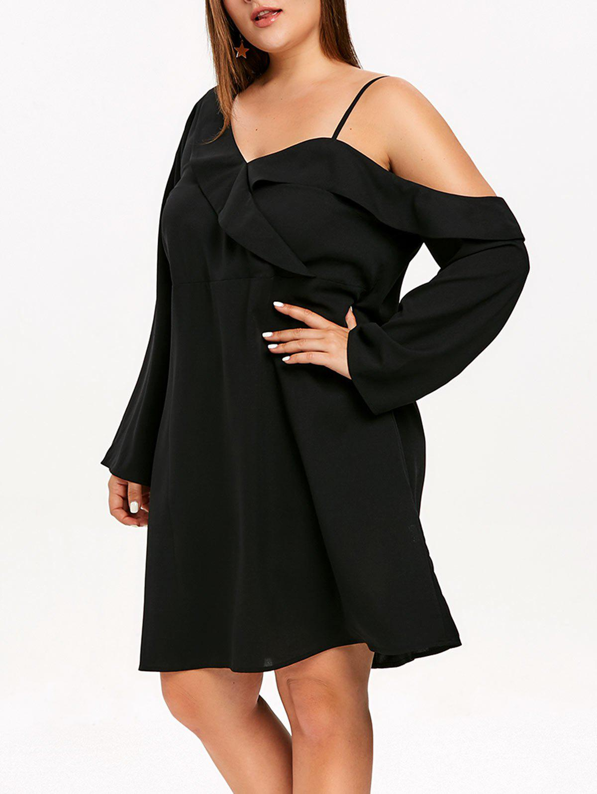 Discount Plunging Neck Ruffle Trim Plus Size Mini Dress