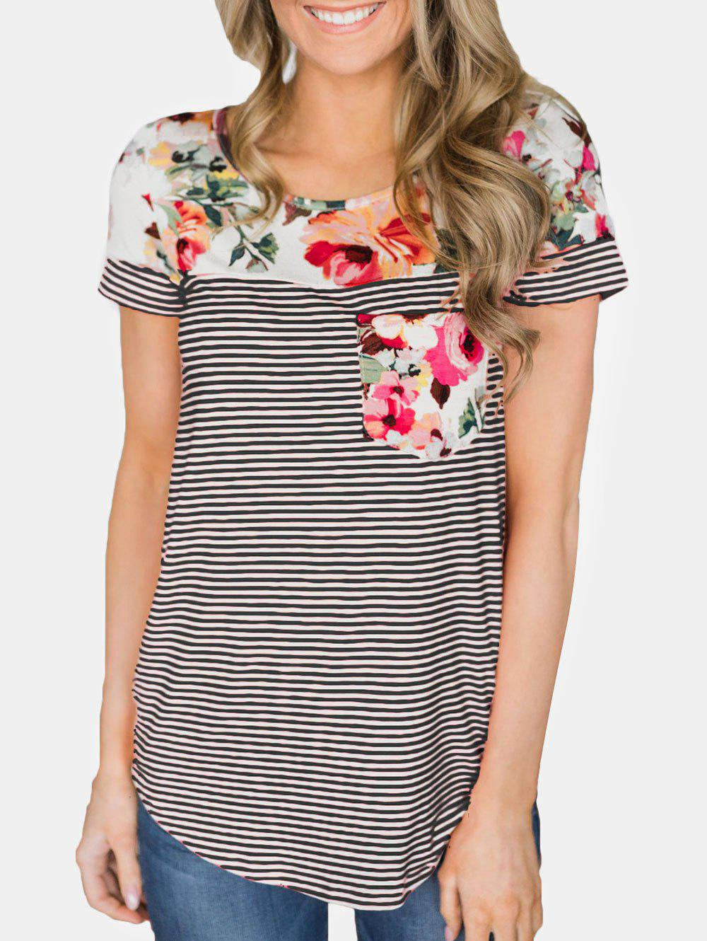 Shops Floral Print Short Sleeve Striped Tee