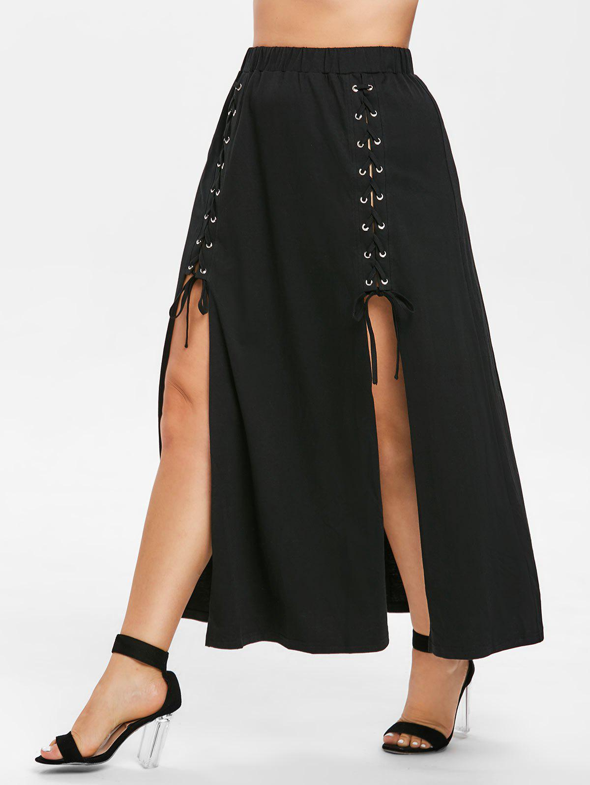 31bf2192d27 36% OFF  Front Slit Plus Size Lace Up Skirt