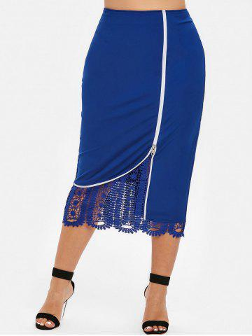 Lace Panel Plus Size Bodycon Skirt