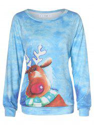 Plus Size Christmas Cartoon Elk Round Collar T-shirt -