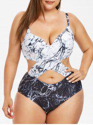 Backless Marble Print Plus Size Monokini Swimsuit -
