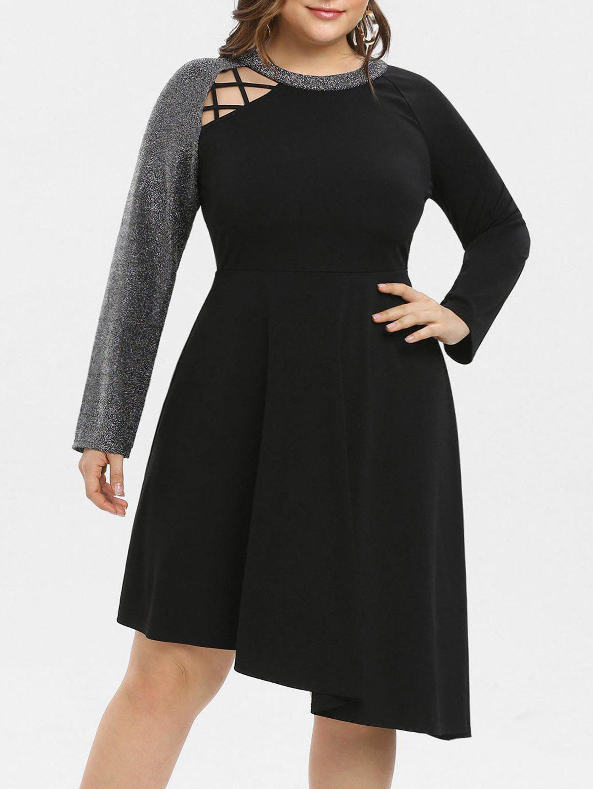29% OFF] Plus Size Asymmetrical Sequined Midi Dress | Rosegal