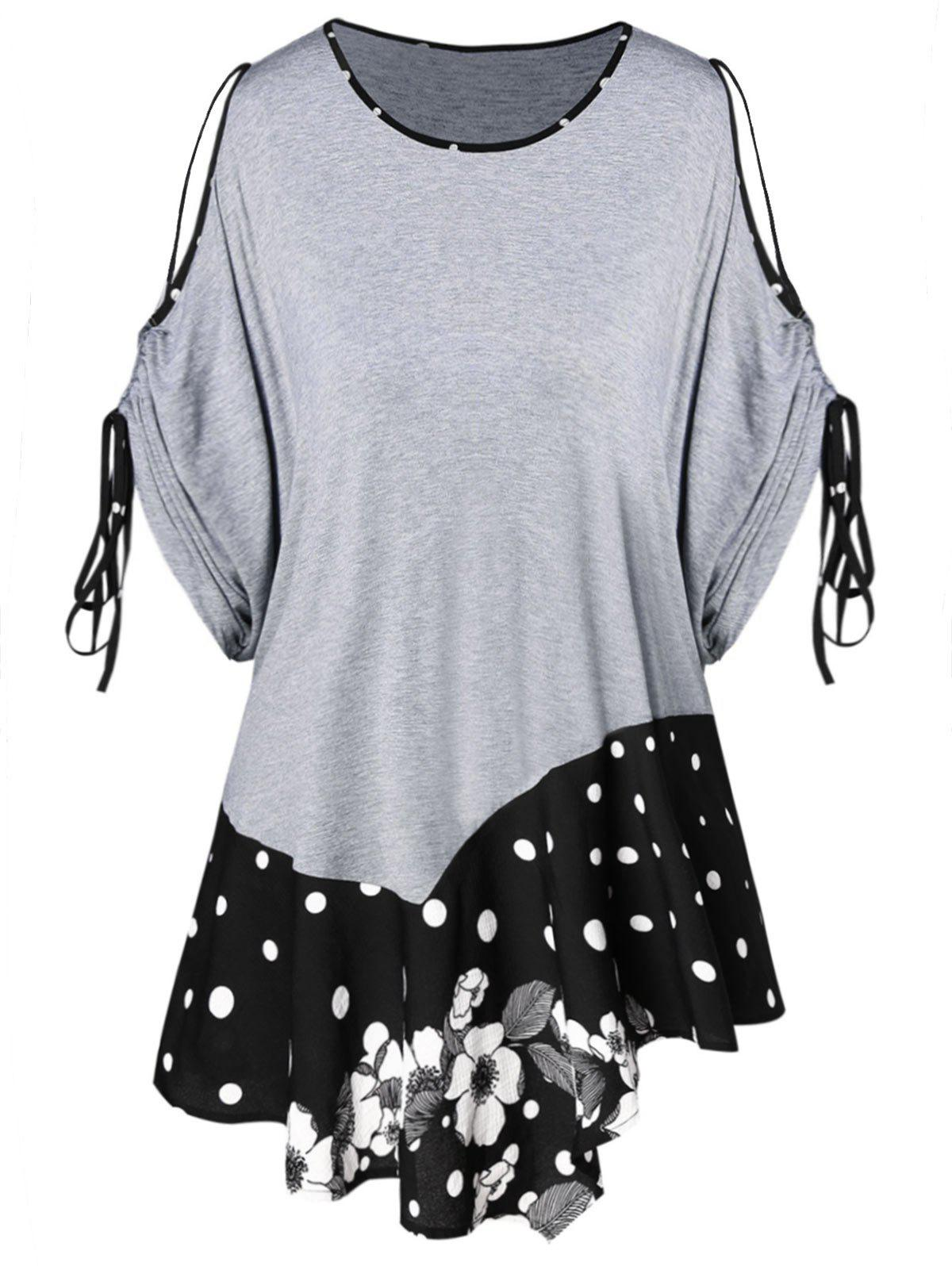 90d912e18f4 Outfit Plus Size Cut Out Drawstring Sleeve Polka Dot T-shirt