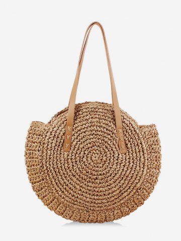 Round Beach Straw Shoulder Bag